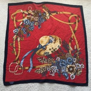 Vintage CHANEL Silk Scarf - Red